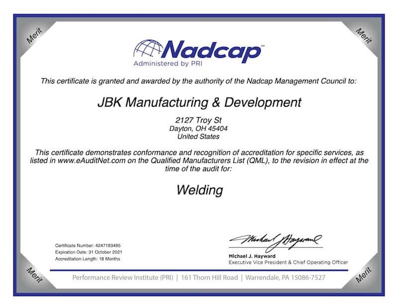 NADCAP JBK Weld Cert 2020