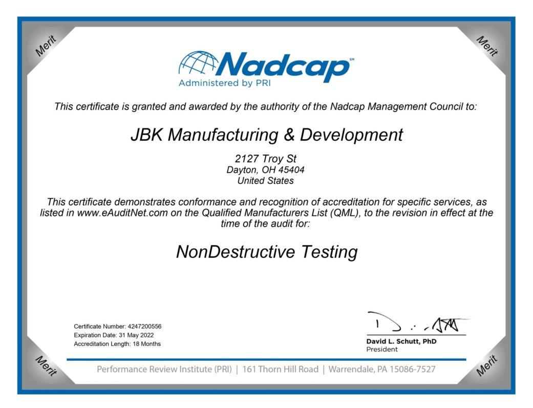 Nadcap Certificate 2022